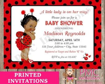 Ladybug baby shower etsy custom printed shabby chic antique vintage african american ladybug baby shower invitations 100 each with envelope filmwisefo
