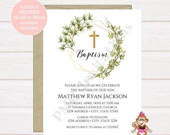 Custom PRINTED 4.25X5.5 Baptism First Communion Baptism Invitation Christening Confirmation Invitation whitekraft envelope included