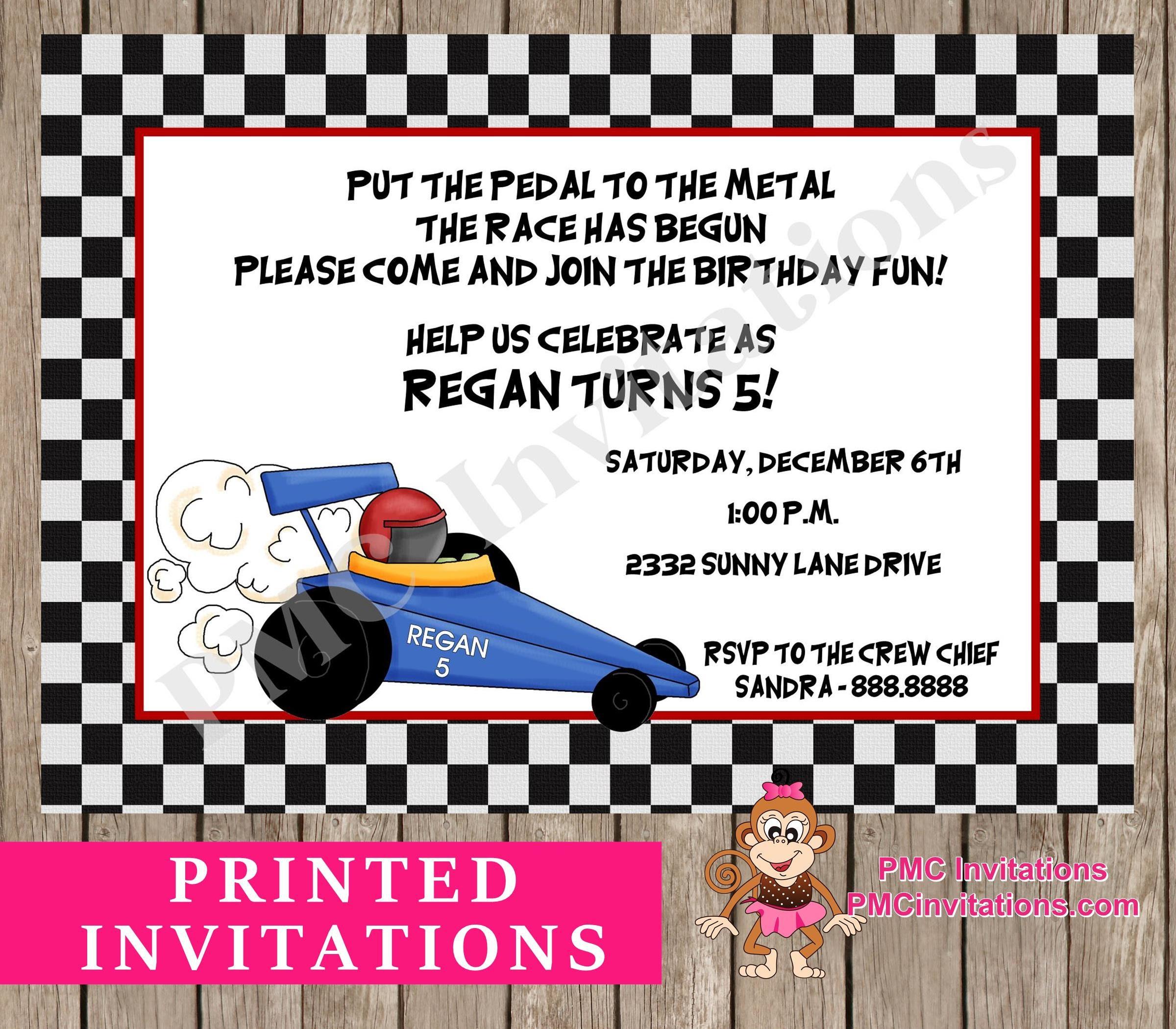 Custom Printed Race Car Go Kart Birthday Invitations 1.00 | Etsy