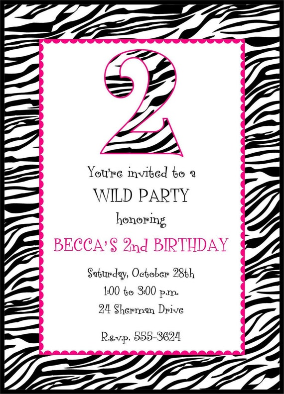 Zebra Giraffe Or Cow Print Birthday Invitations Any Age