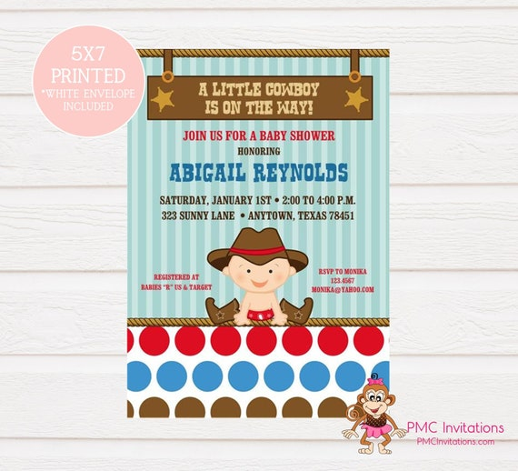 Custom Printed Baby Little Cowboy Baby Shower Invitations Cowboy