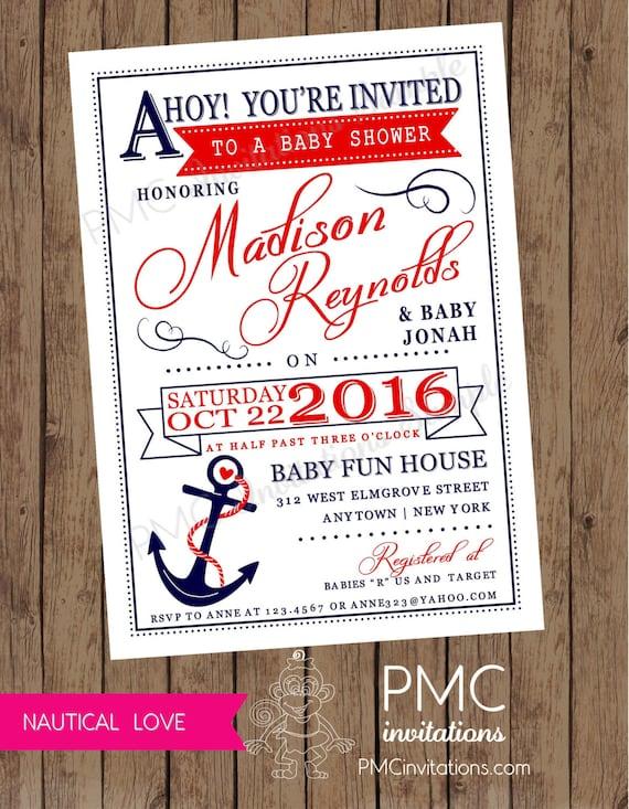 Custom Printed Nautical Baby Shower Invitations 1 00 Each Etsy