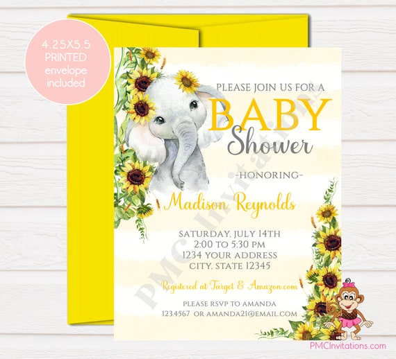 Elephant Baby Shower Invitation Moon Custom PRINTED 4.25X5.5 Watercolor Elephant Baby Shower kraft or white envelope Stars