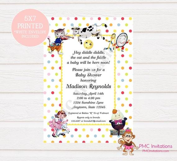 Custom Printed Nursery Rhyme Baby Shower Invitation Cow Etsy