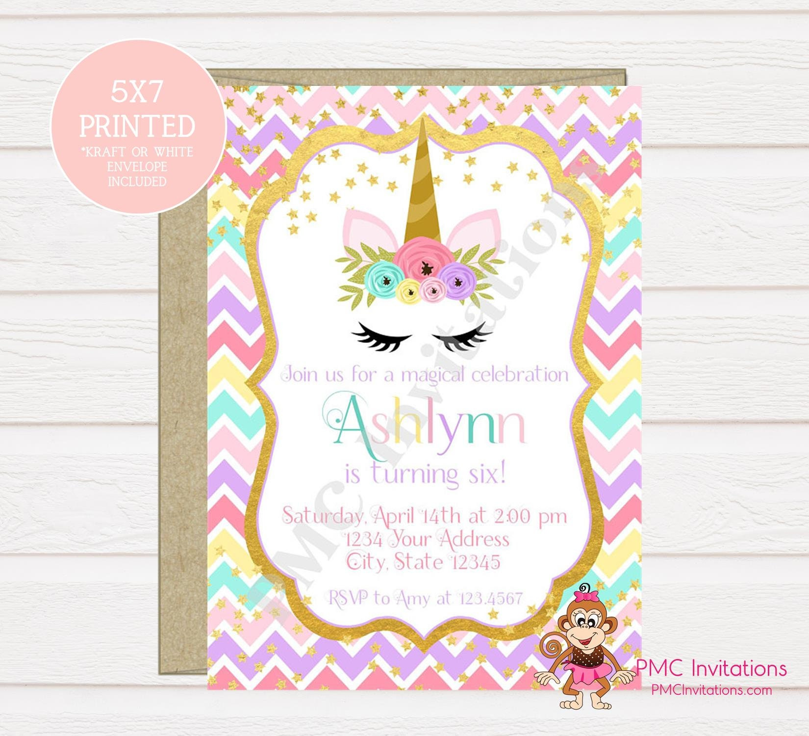 Custom Printed Unicorn Birthday Invitation Unicorn Face Etsy
