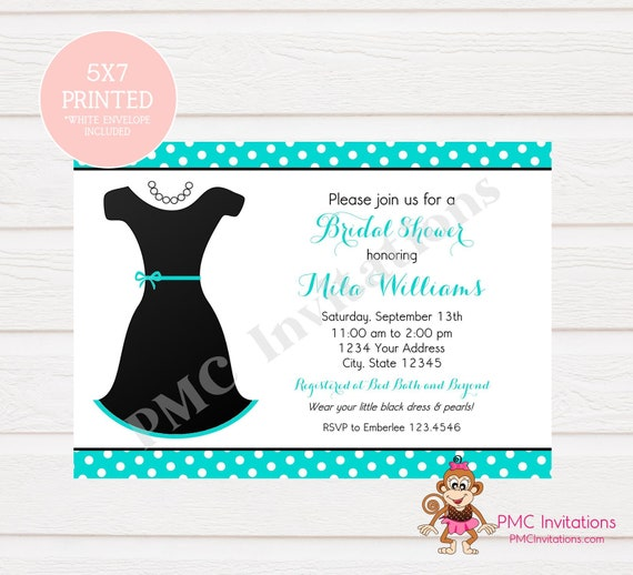 Custom Printed Little Black Dress Bridal Shower Invitations Etsy