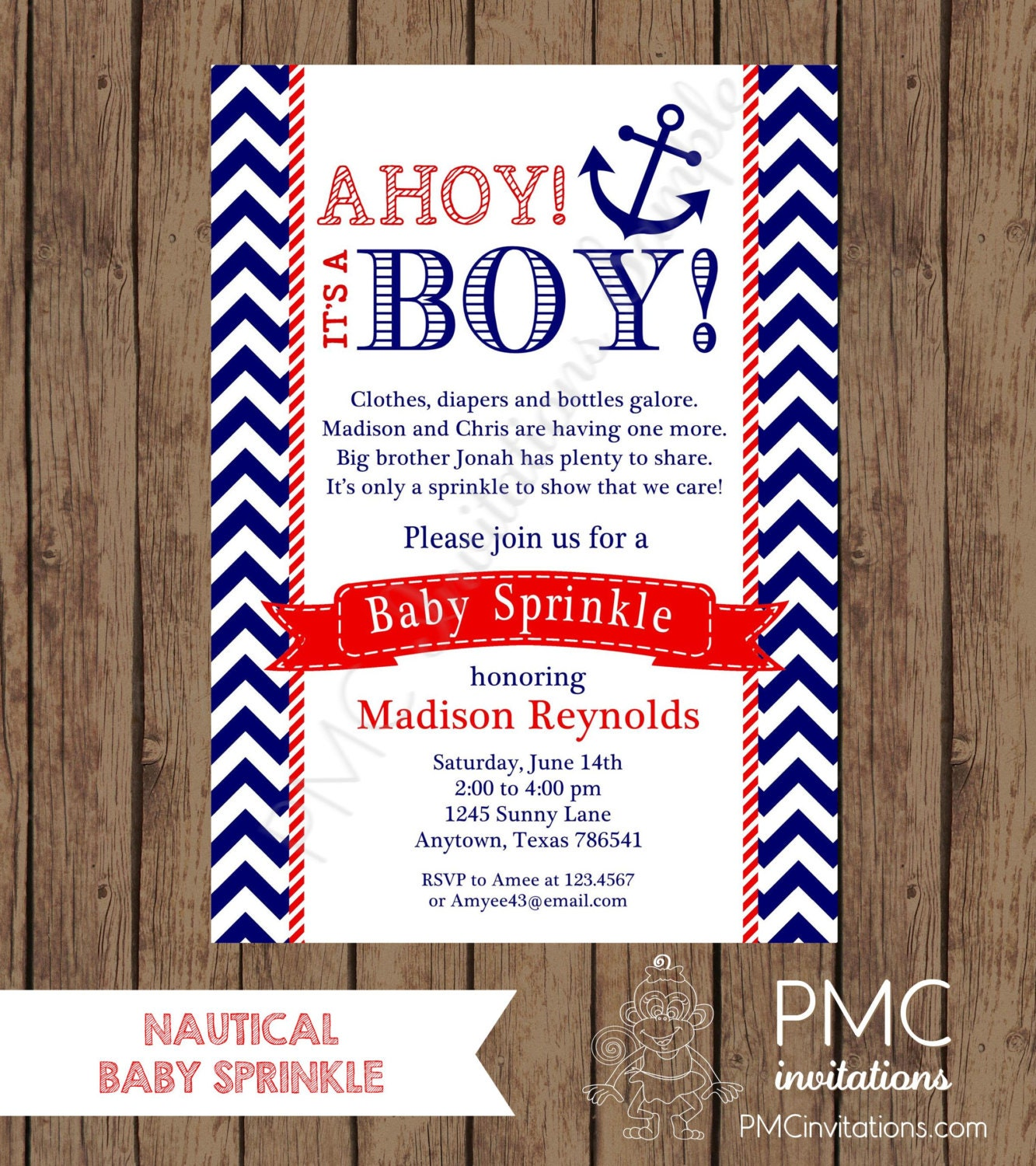 Custom Printed Navy and Red Nautical Baby Sprinkle Invitations | Etsy