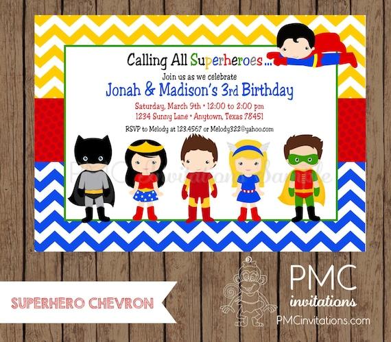 Custom Printed Superhero Birthday Invitations