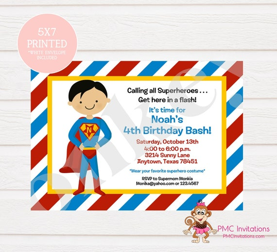 Custom Printed Superhero Birthday Invitations