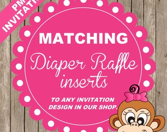 Matching DIAPER RAFFLE inserts to ANY baby shower invitation design in our shop