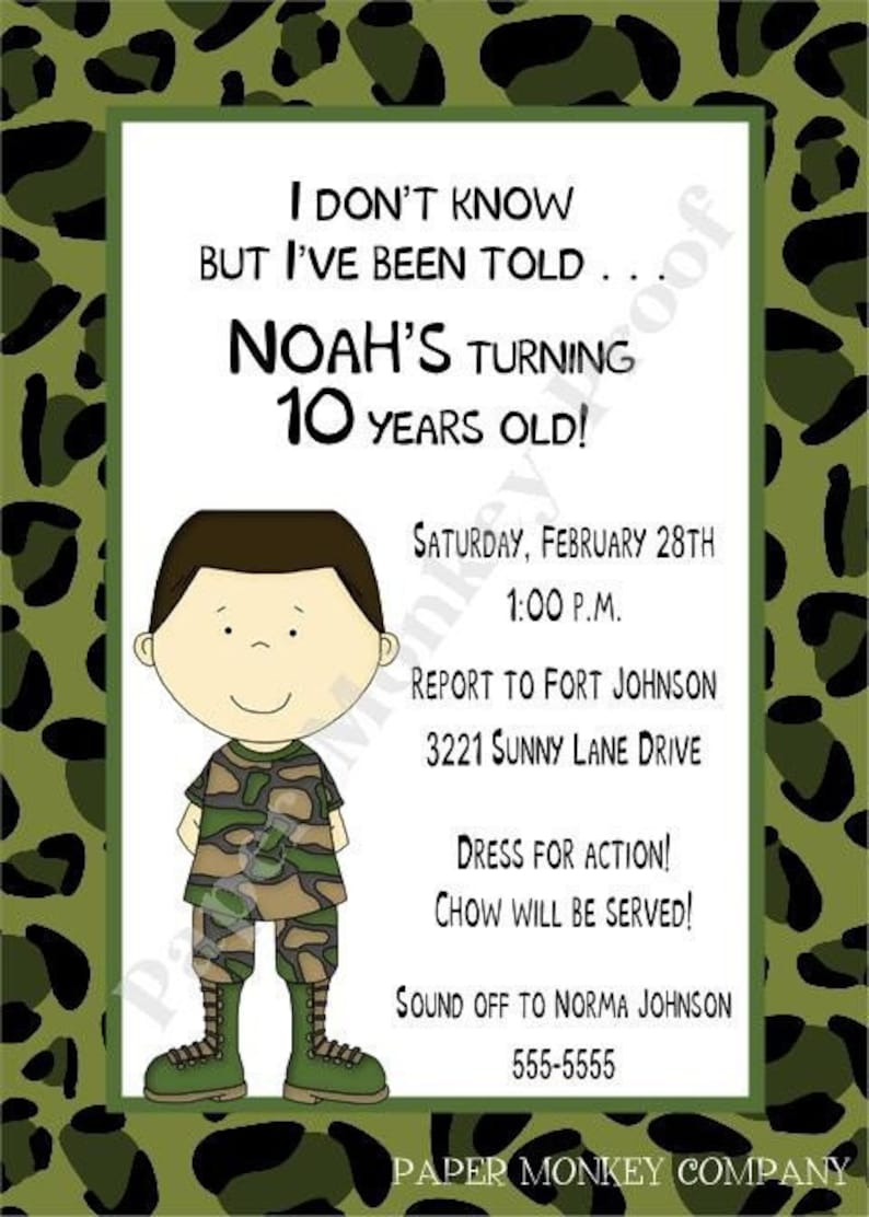 Camouflage Military Or Army Birthday Invitations Brown Hair