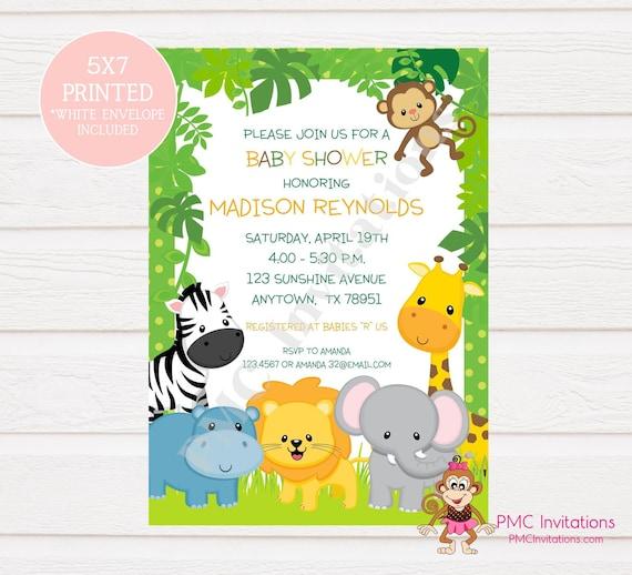 Custom Printed Wild Animals Jungle Safari Baby Shower Invitations