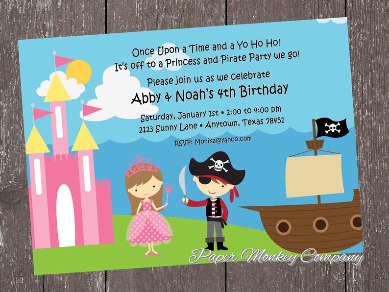 Princess And Pirate Birthday Invitation Etsy