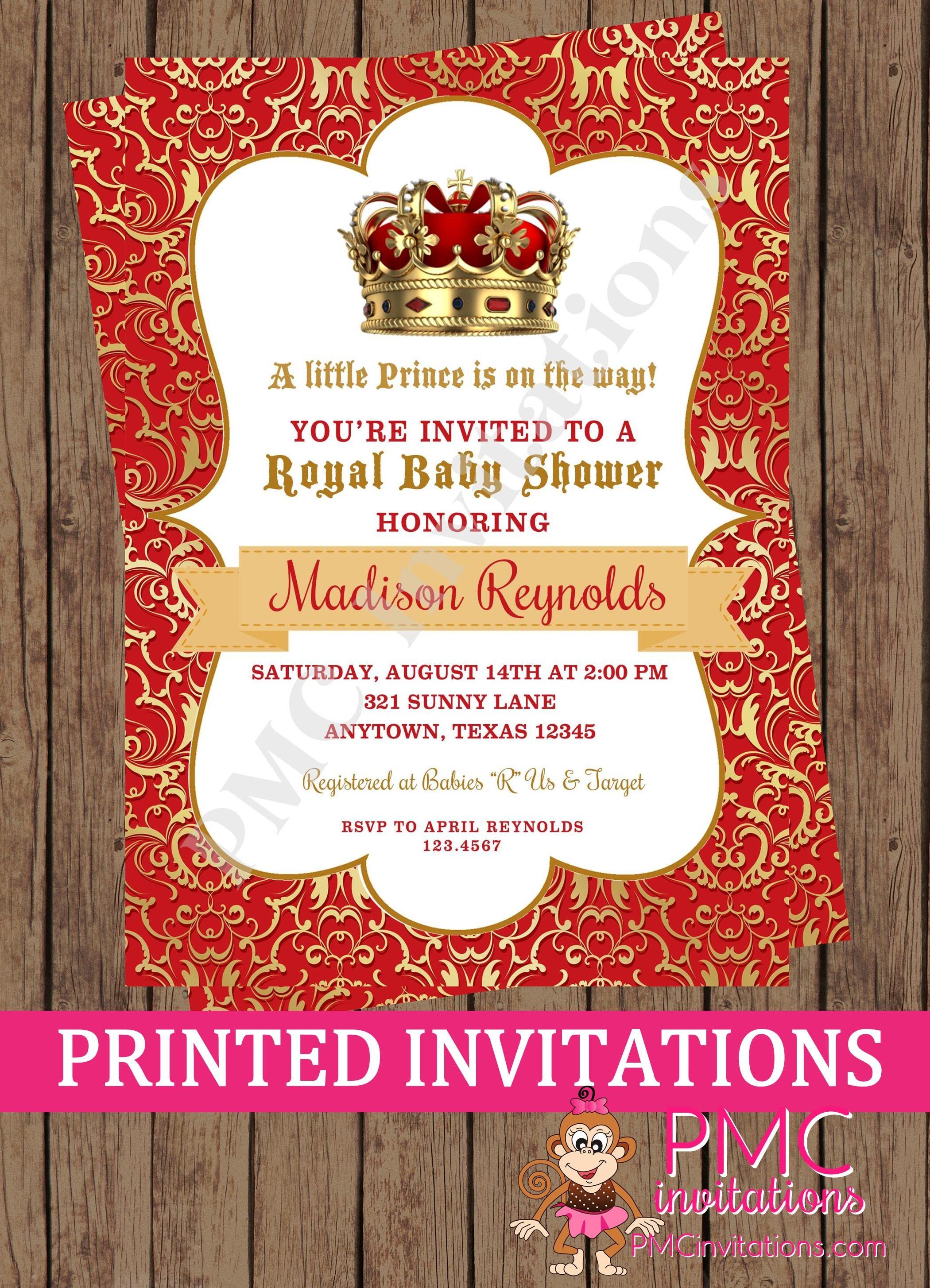 Custom Printed Boy Red Crown Royal Prince Baby Shower | Etsy