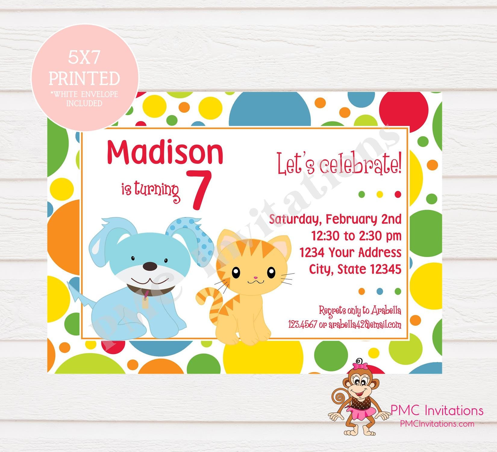 Custom Printed Puppy and Kitten Birthday Invitation Dog and | Etsy