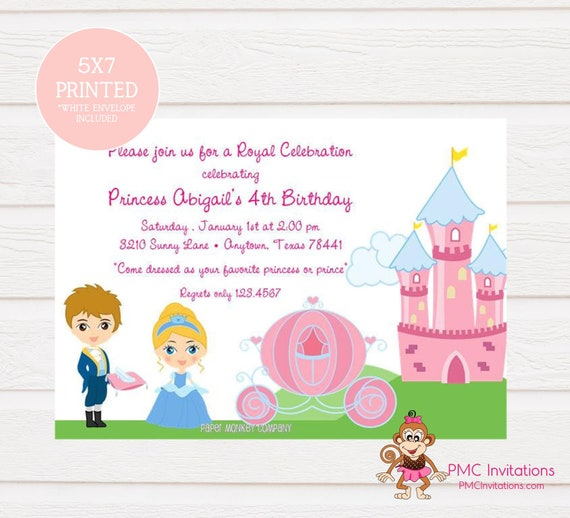 Custom Printed Princess Birthday Invitations