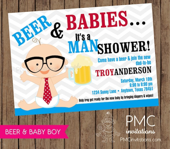 man shower beer and babies diaper party invitation 1 00 each with