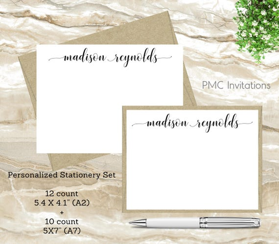 Graduation Gift Bridal Shower Present Custom Stationery Beautiful Personalized Note Card Set Elegant and Chic