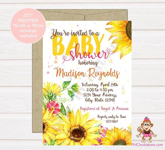Custom Printed 5x7 Sunflower Baby Shower Invitation Beautiful