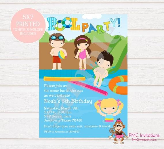 Custom Printed Boy Girl Pool Party Birthday Invitations
