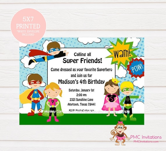 Custom Printed Boy Girl Superhero Birthday Invitations