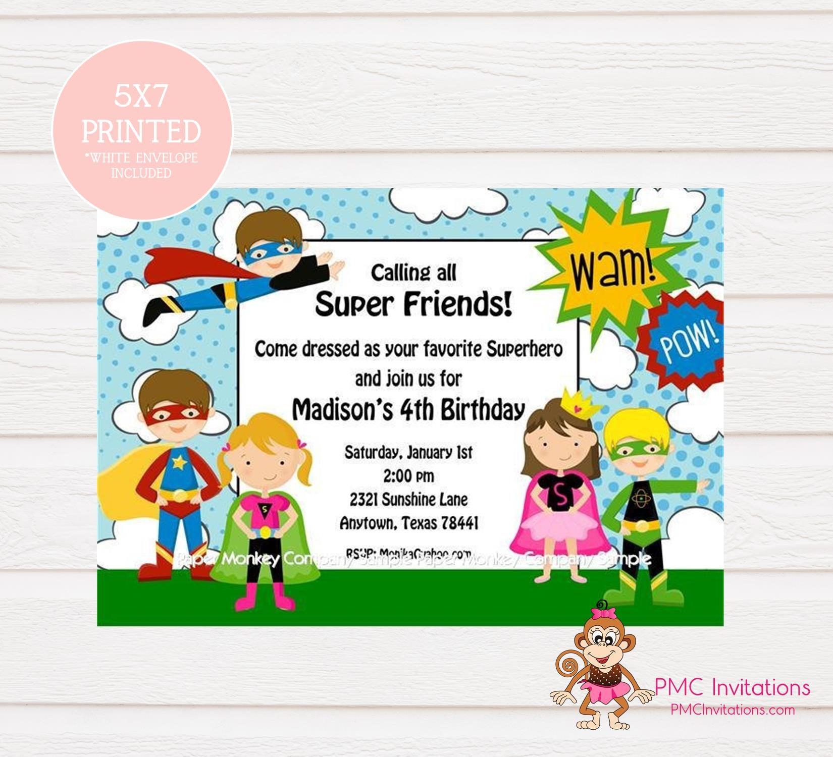 Custom Printed Boy Girl Superhero Birthday Invitations 1.00 | Etsy