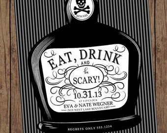 Eat, Drink and be Scary Adult Halloween Invitation  - 1.00 each with envelope