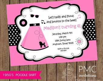1950's Poodle Skirt  Birthday Invitations - 1.00 each with envelopes