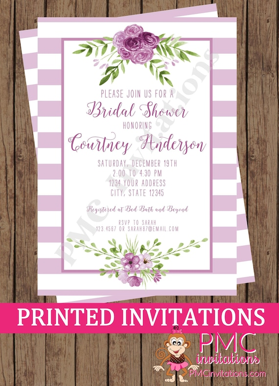 96904e056c43 Custom Printed Purple Lavender Floral Watercolor Bridal Shower Invitations  - Watercolor Floral Invitation - 1.00 each with envelope
