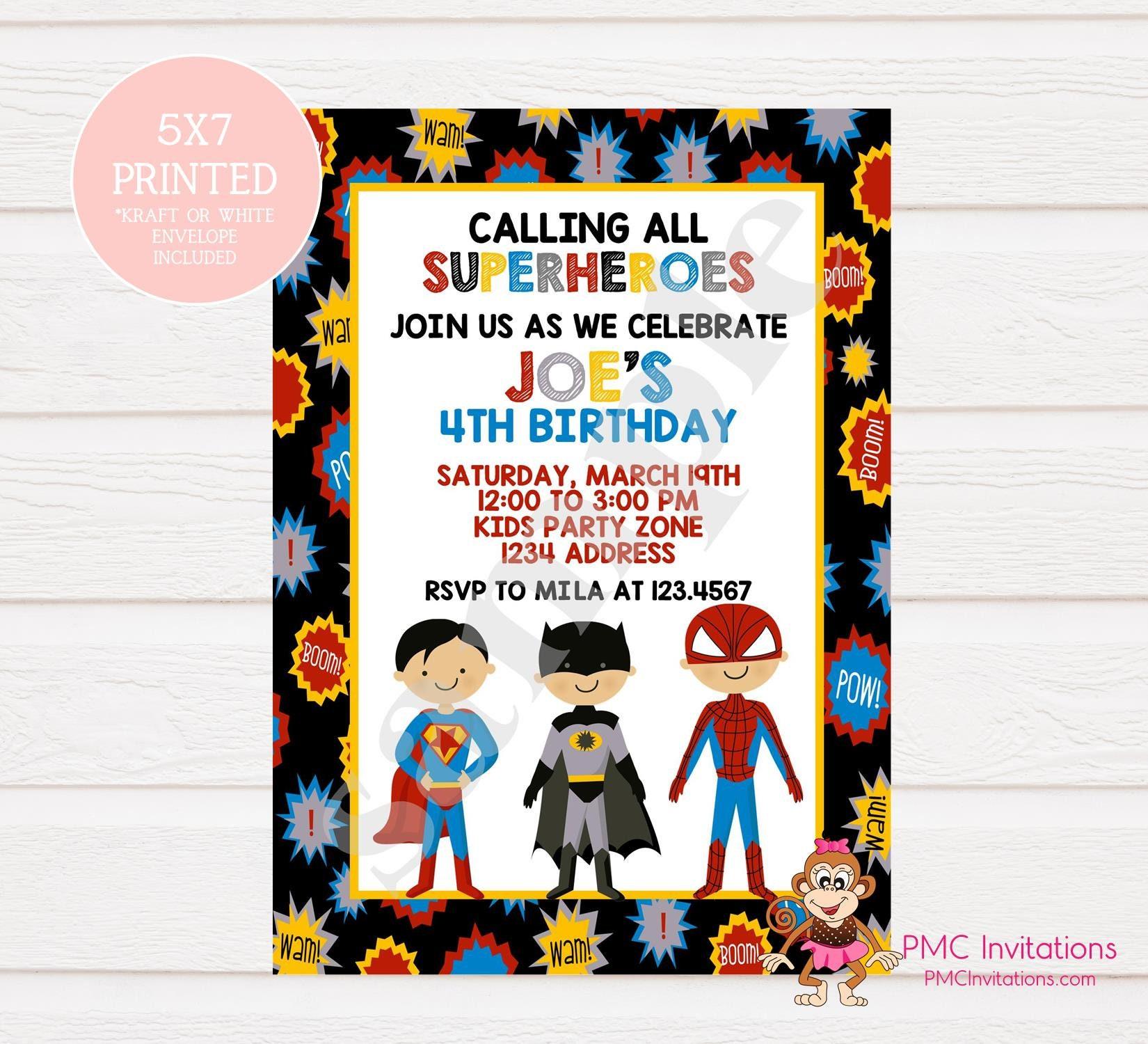 Custom Printed Superhero Birthday Invitations 1.00 each with | Etsy