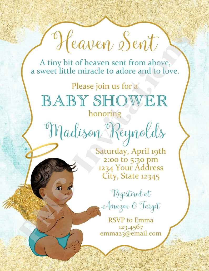 Custom PRINTED 4.25X5.5 Heaven Sent Baby Shower Invitation Heaven Sent Baby Shower kraft or white envelope included