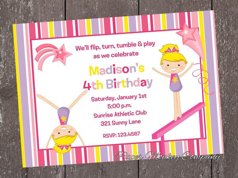 Custom PRINTED Gymnastics Birthday Invitations 100 Each