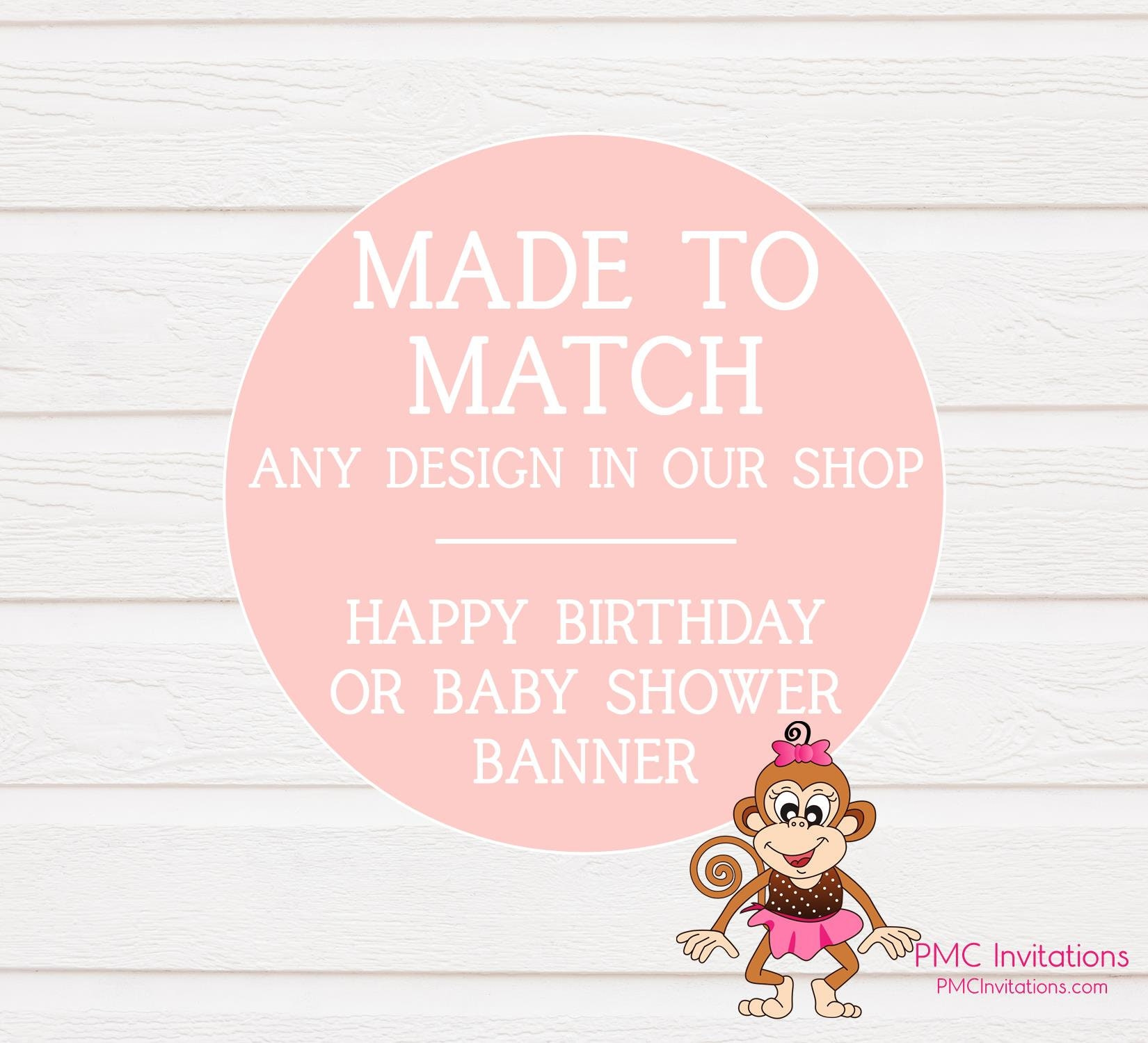 Banner Happy Birthday Or Baby Shower Match Any Style In