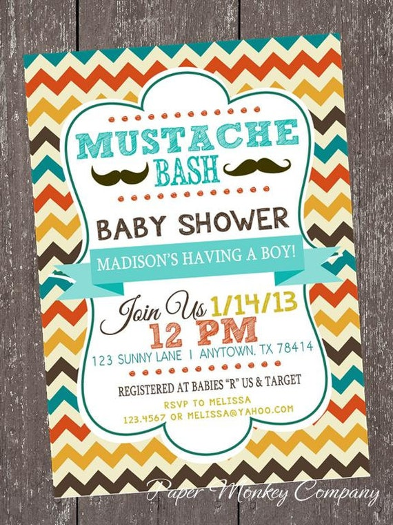 Chevron mustache bash baby shower invitations 100 each with etsy filmwisefo
