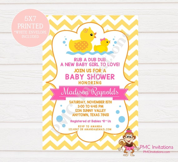 Custom Printed Yellow Rubber Duck Baby Shower Invitations 100