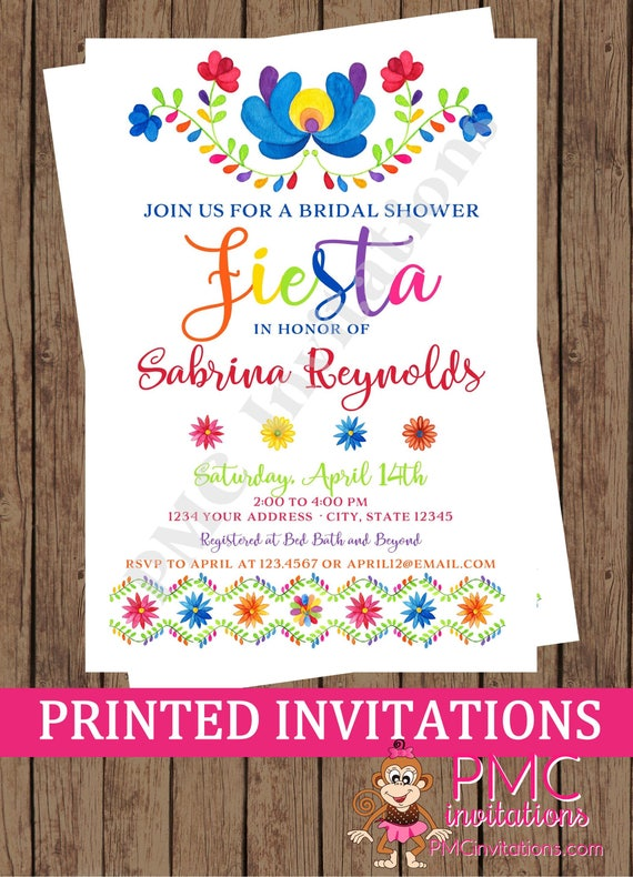Custom Printed Fiesta Bridal Shower Mexican Bridal Shower Etsy
