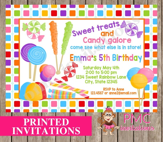 custom printed sweet candy shoppe birthday invitations candy etsy