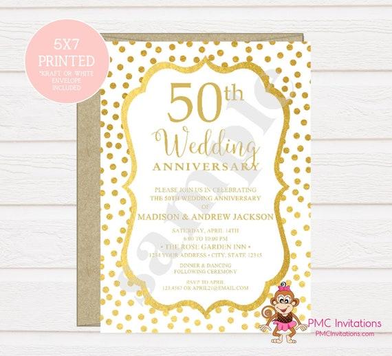 Custom Printed 50th Wedding Anniversary Invitation Golden