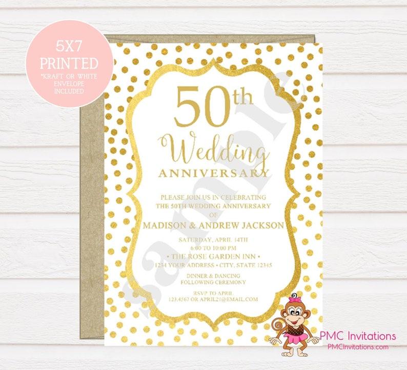 Custom Printed 50th Wedding Anniversary Invitation Golden Etsy
