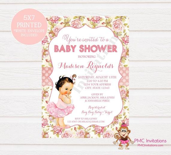 Custom Printed Shabby Chic Vintage Ballerina Baby Shower Invitations