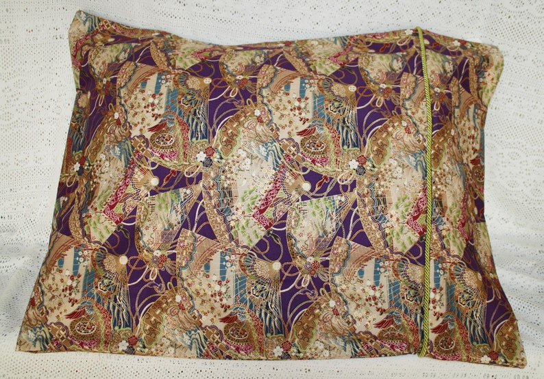 Pillowcase Pair Standard  Queen size with Green Corded Trim Sateen Bedding Asian Inspired Bedding