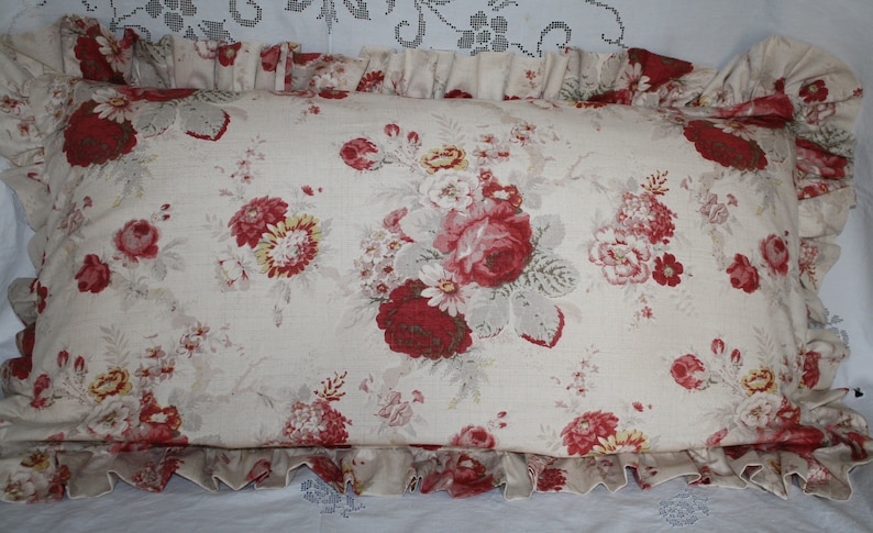 You Choose Trim Waverly Norfolk Rose Shabby Chic Style Decorative Throw Pillow
