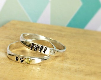Custom Stackable Name And Birthstone Ring with Your Kid's Names Perfect for Mother's Day in Sterling Silver Organic in Shape