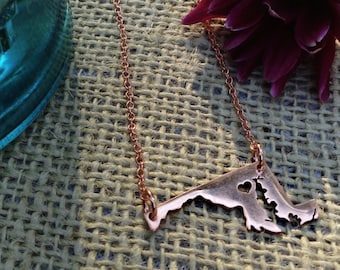 Maryland State Pendant in Sterling Silver Copper or 14k Gold Filled Personalized the Location of the Heart over the City of Your Choice