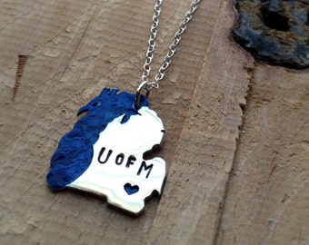 U of M Michigan and Lake Michigan Necklace in Copper or Sterling Silver School Pride Back to School