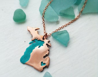 Upper and Lower Peninsula Michigan Necklace Personalize the Heart over Your Favorite City