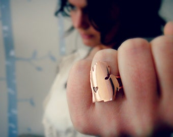 Copper Michigan Ring Personalize the Location of the Heart