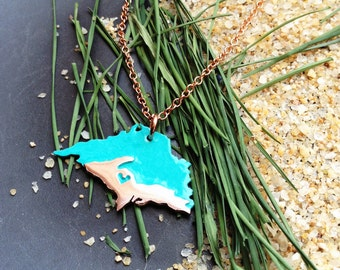 Upper Peninsula Pendant with Lake Superior Personalize the Location of the Heart