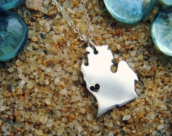 Michigan Necklace Choose Your Metal Type and Heart Location