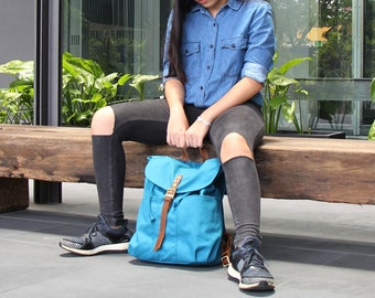 BACK TO SCHOOL 20% Teal Backpacks, Personalized Gift, Leather Drawstring, School Bag, Travel Backpack, Diapers Bag, Kinies